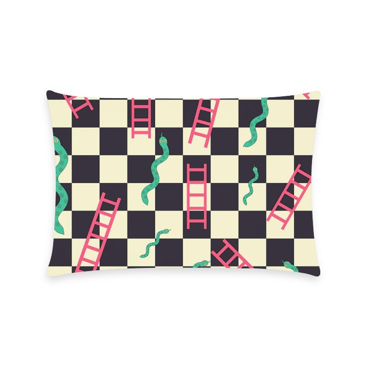 "Snakes and Ladders Game New Pillow Case Pillow Inner Included 16""x24""(One side)"