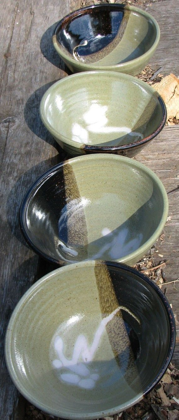 Handmade pottery bowl set by claycoyote on Etsy, $64.00