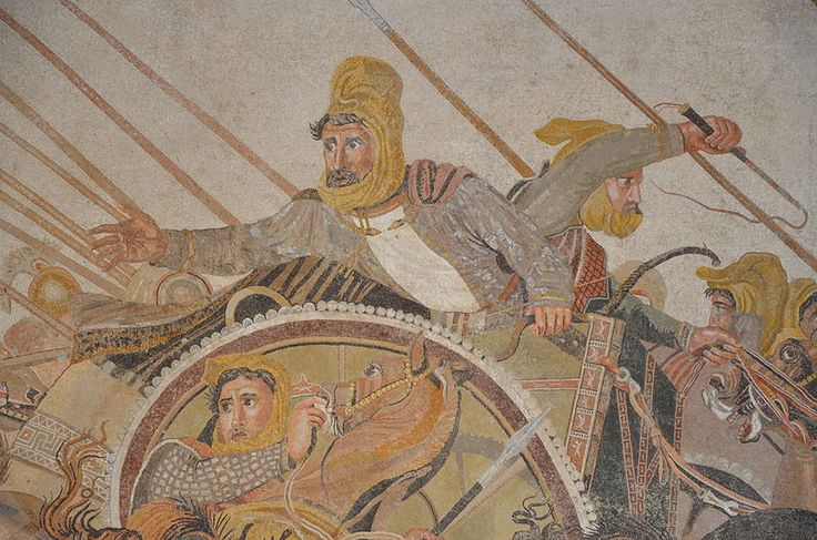 Detail of the Alexander Mosaic depicting the Battle of Issus between Alexander the Great & Darius III of Persia, from the House of the Faun in Pompeii. The original is now in MANN.