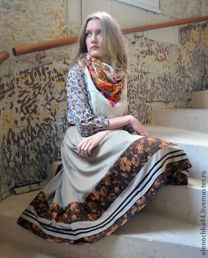 """Юбка осенняя """"Опавший лист"""" - бежевый,юбка,юбка миди,юбка средней длины"""