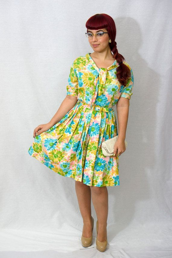 1950s Pastel Floral Dress /  50s Watercolor Dress by DnJVintage, $88.00