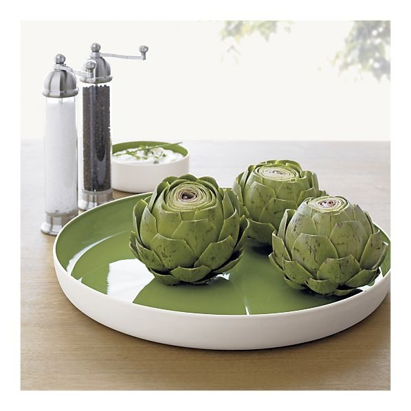 Grilled artichokes and lime green platters