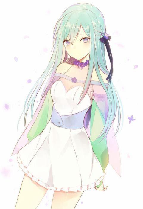 anime girl green hair jpn