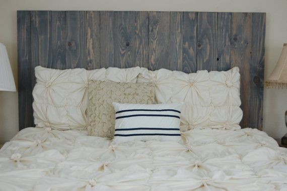 Hanger*Twin Headboard - Classic Gray Stain. Headboard made with 2 Barn Walls blocks. Hang on the wall like picture frames. Easy installation