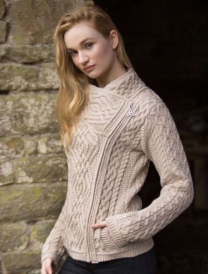 Cable Knit Jacket with Celtic Knot Side Zip | Aran Sweater Market
