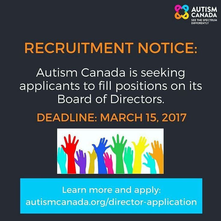 Autism Canada is governed by a Board of Directors which is collectively responsible for directing and overseeing the work of the organization. If you are interested in applying visit: http://ift.tt/2kdImLL