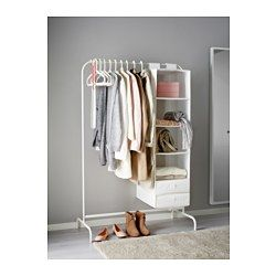 IKEA - MULIG, Clothes rack, white, , Can be used anywhere in your home, even in damp areas like the bathroom and under covered balconies.The plastic feet protect the surface against scratching.