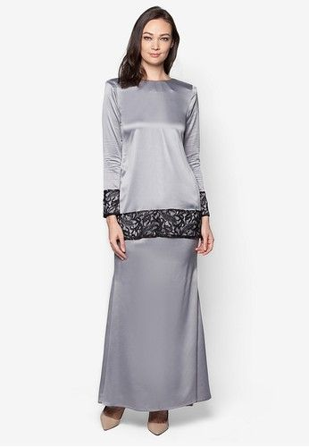 Sahara Kurung Modern from Izzabell Couture in Grey SAHARA Modern Kurung is inspired by traditional Malay Kedah Kurung. Made from high quality soft crepe and patch of soft lace in black. Available in seventeen beautiful colours. Top -Baby crepe -Soft lace -Round neckline -Long sleeves -Regular fit -Ba... #bajukurung #bajukurungmoden