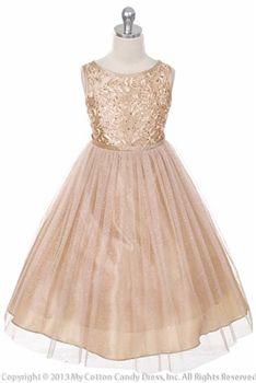 Champagne Color Embroidered taffeta flower girl dress