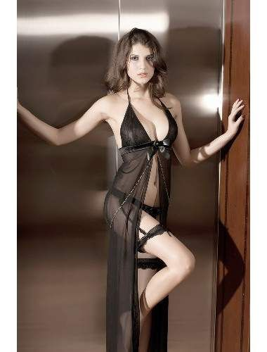 Black Foudre Dress   Buy Babydoll and Chemise , sexy nightwear , honeymoon wear, Sleepwear Gown online in india   StringsAndMe