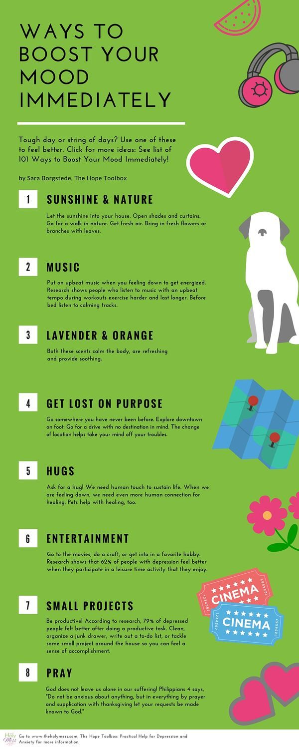 This is a must-pin for reference on a down day. Use this list to find a way to feel better fast. Some of these quick fixes are surprising and simple! Ways to Boost Your Mood Immediately|The Holy Mess