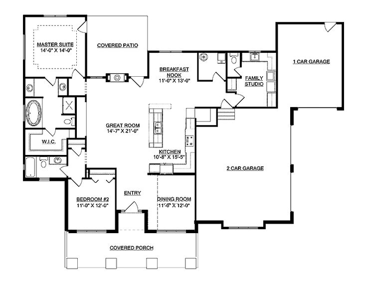 open floor plan with double garage and covered patio house
