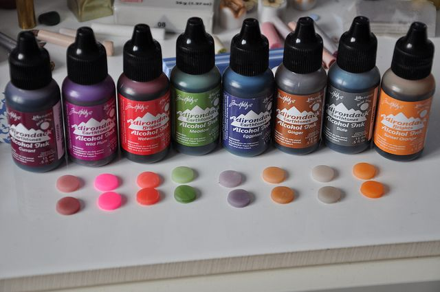 FIMO translucent polymer clay combined with different Adirondack Alcohol Inks