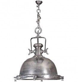 Vintageverlichting.nl Hanglamp Frederik heeft een industrieel uiterlijk en is gemaakt van nikkel/aluminium met een zilverkleurige/ruwe afwerking. Door de robuuste schroeven en de glasplaat aan de onderkant geeft hanglamp Frederik  een vintage look & feel aan je interieur.  #industriële lamp #stoere lamp #vintagelamp #industriele hanglamp #robuuste lamp
