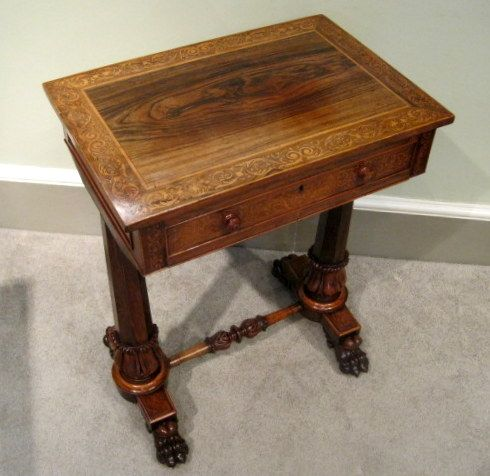 A Fine Late Regency Period Rosewood And Boxwood Marquetry Inlayed Sewing  Table, Raised On Octagonal