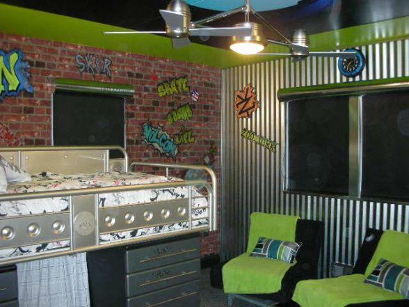 funky urban skateboarder boy bedroom lots of easy to duplicate hardware store ideas - Brick Kids Room Decor