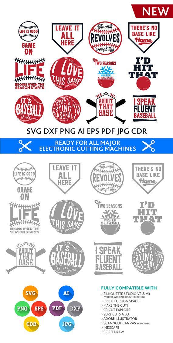 Baseball Quotes Bundle Svg: 12 Cuttable Quotes (SVG Studio Studio3 DXF Eps Png Pdf Jpg Ai Cdr) cut files Silhouette Studio, Cricut, Cameo