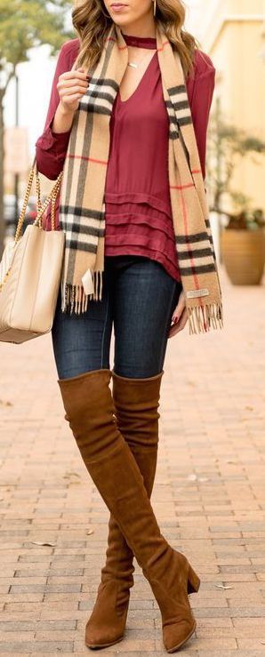 #winter #fashion / OTK boots + burgundy