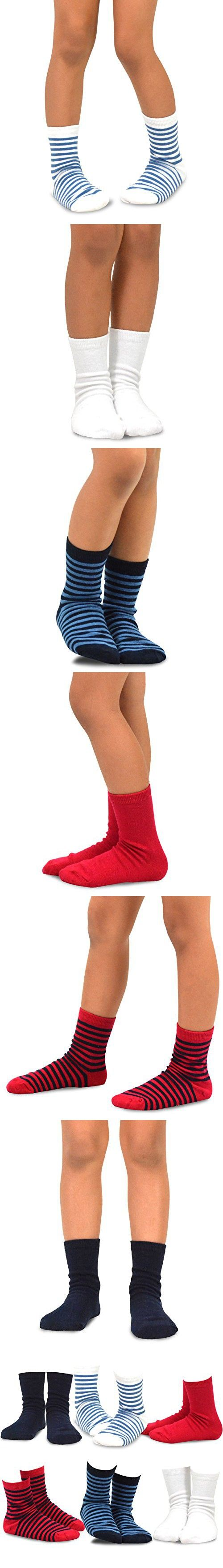 Naartjie Kids Boys Short Crew Socks - Solid and Stripes Mixed Assorted Colors 6-Pack Bright Tone (12-18months)