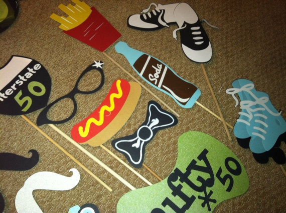 PHOTO BOOTH PROPS The Nifty 50 sock hop by flutterbugfrenzy, $36.00