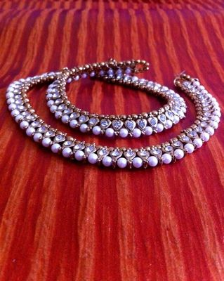 White Diamentes Pearl Payal or Anklet- Ethnic Indian Bollywood Jewelry b159