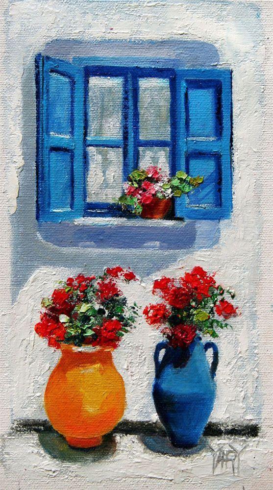 garden windows for sale greenhouse greece blue garden window flower floral original oil painting yary dluhos sale impressionism oilpaintingblue