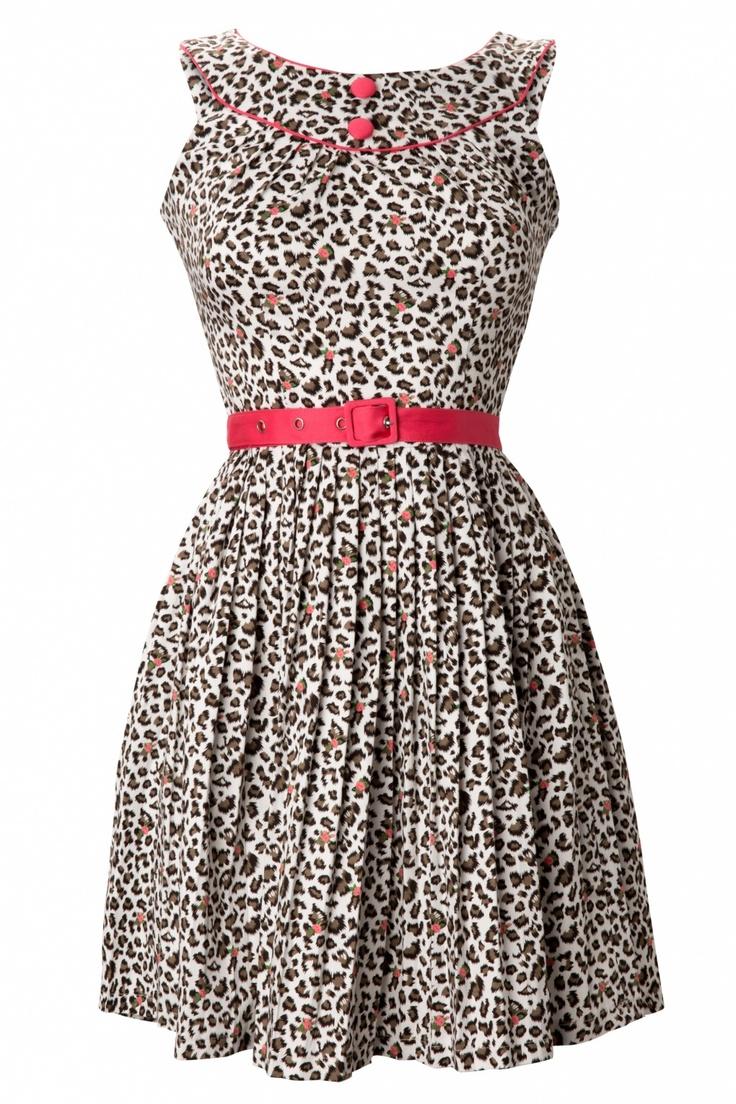 Vixen - 50s Leopard Dress White Pink