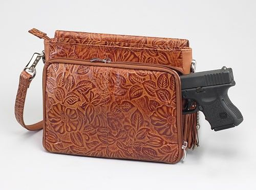 Tooled Cowhide Concealed-Carry Purse - GunGoddess.com