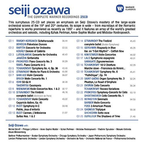 Seiji Ozawa – The Complete Warner Recordings [Box Set]   Seiji Ozawa - The Complete Warner Recordings [Box Set] Seiji Ozawa remains the longest-serving music director in the history of the Boston Symphony Orchestra, having held the position for 29 seasons from 1973-2002. He has made his mark as one of the most prominent conductors in North America from early on in his career, having been appointed by Leonard Bernstein as assistant conductor to the New York Philharmonic for the 1961-6..