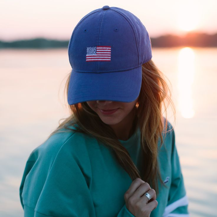Needlepoint Flag Hat l Great Lakes Clothing