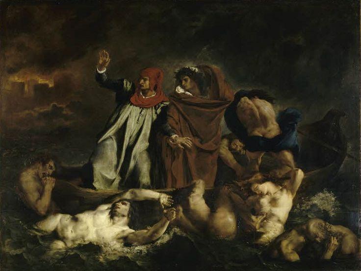 Dante et Virgile aux enfers, Eugène DELACROIX dit aussi La Barque de Dante  Salon de 1822  Huile sur toile H. : 1,89 m. ; L. : 2,41 m.