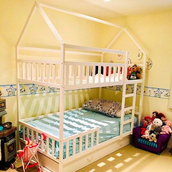 Painted With Eco Paint Bunk Bed With Trundle Montessori Floor Bed Kid Bed Wood Bed Children Home Children Bed Kids Bedroom Floor Bed Idees De Lit Lit Enfant Lit Maison