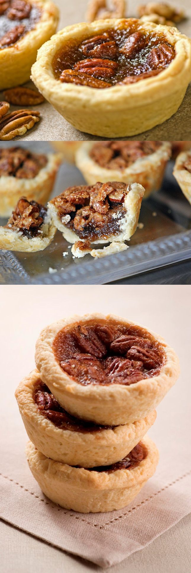 Mini pecan pie tart recipe. An alternative to the ooey-gooey rich pecan pie... Always a favorite from my mom's kitchen during the holidays!
