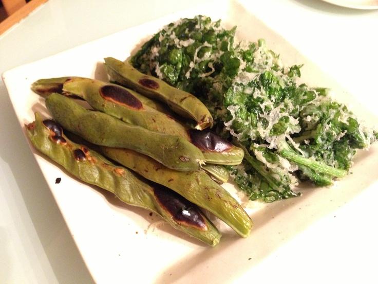 grilled broad beans & field mustard TEMPURA. そら豆のグリルと菜の花の天ぷら♥