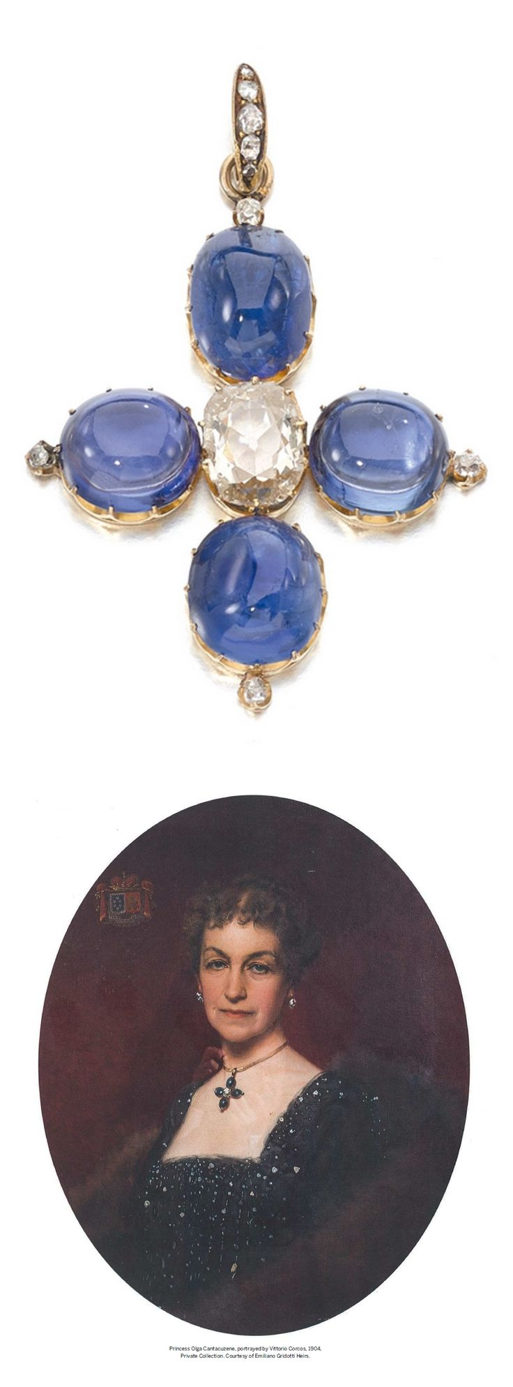 An antique sapphire and diamond cross pendant, circa 1850. Claw-set with a cushion shaped diamond surrounded by four cabochon sapphires weighing 12.32, 13.99, 18.42, 18.64 carats respectively. Formerly in the Collection of Princess Olga Cantacuzene (1843-1929), daughter of Prince Alessandro Rodionovich Cantacuzene and Marie Rainaud.