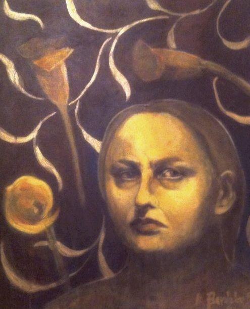 Autoportret z kallami ANNA  BARDZKA - Autoportret z kallami (Malarstwo) przez ANNA  BARDZKA