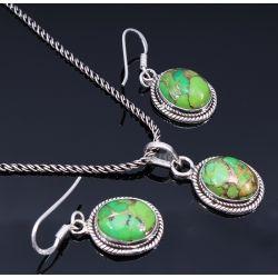 Sterling ezüst, kaboson csiszolású fülbevaló és medál szett, természetes réz-türkizzel. 11900 Ft Sterling silver cabochon earring & pendant set /w natural copper turqouise. 11900 HUF.