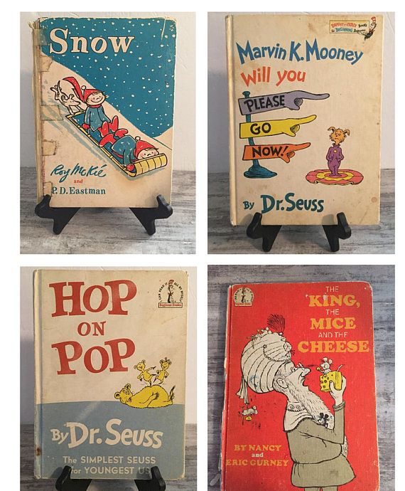 Vintage Dr. Seuss Book Lot #HoponPop #TheKingTheMiceAndTheCheese #MarvinKMooneyWillYouPleaseGoNow #byDrSeuss #Snow #VintageBookLot #SeussLot