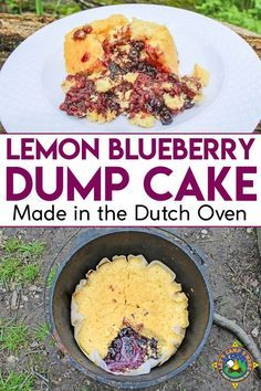 Lemon Blueberry Dump Cake Recipe - Want an easy camping dessert recipe to make this weekend? Try this Lemon Blueberry Dump Cake which is made in the Dutch Oven. It's so simple and delicious! It will have everyone asking for seconds.