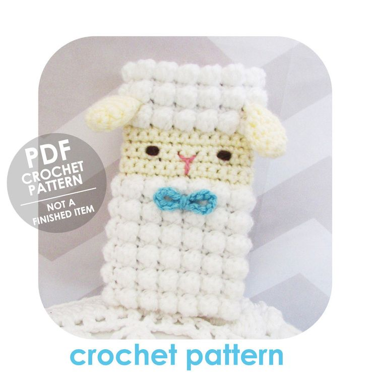 INSTANT DOWNLOAD - Kawaii cute sheep lamb with bow phone sleeve iphone - PDF crochet pattern by HELLOhappy on Etsy