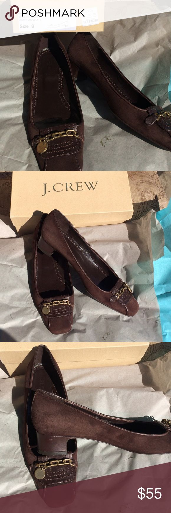 J crew Kensington Loafers Fantastic condition brown J Crew Kensington loafers worn only a few times. Brown suede with one inch leather heel and leather fold over decorated with bronze chain and coins. Very classic style. No scuffs on suede or heel just a bit of scuffing on leather sole. Made in Italy. Also these shoes come in original box J. Crew Shoes Flats & Loafers