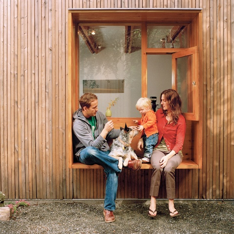 The Stonorov residence in Oakland, CA is sturdy enough to withstand Niko (middle, right) and the family dog Oscar's antics. Photo by Aya Brackett.: Idea, Tiny House, Small Barn, Windows, Architecture, Exterior Window, Window Seats