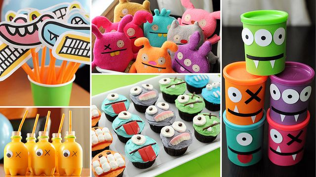 monster grins on sticks, monster play doh, monster cupcakes and juice bottles - and my favourite idea 'adopt a monster'. What a fun birthday party idea