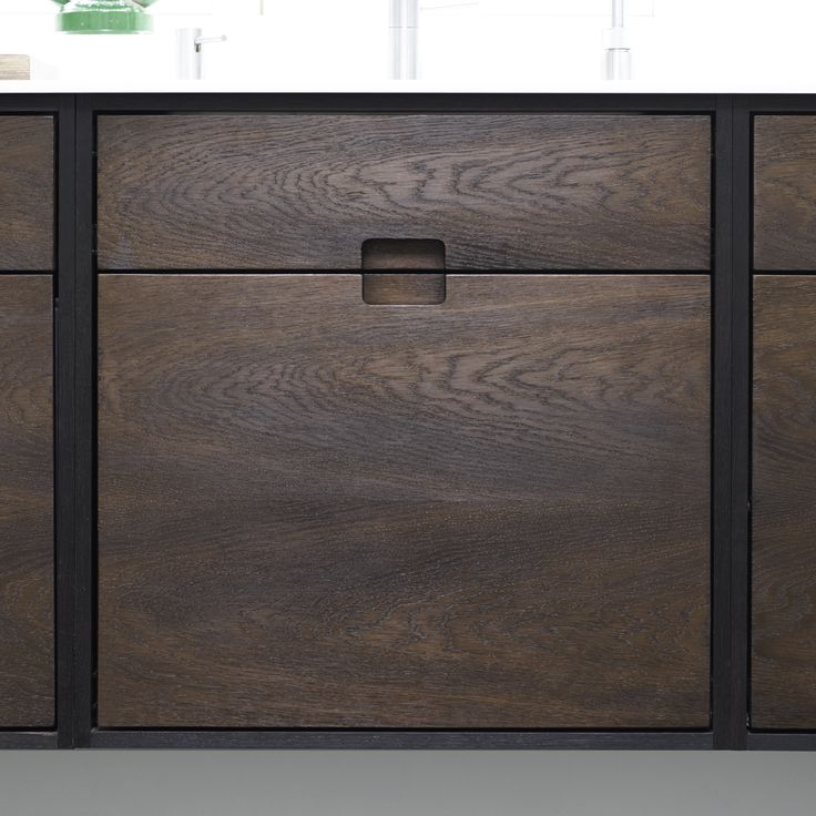 SkabRum kitchen with five individual cabinets made of smoked oak. Cabinet front. #kitchen #oak #smokedoak #wood #cabinets #danishdesign #madeindenmark #furniture #carpentry #joinery