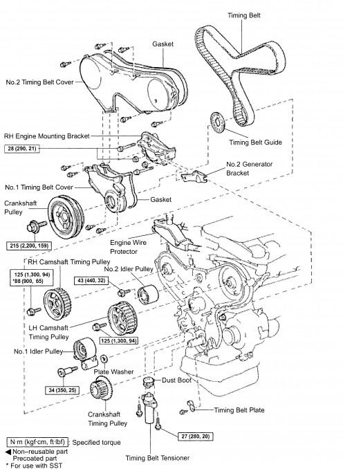 E E Efce Ab Component Diagram Timing Belt on 2000 Toyota Camry Water Pump Diagram