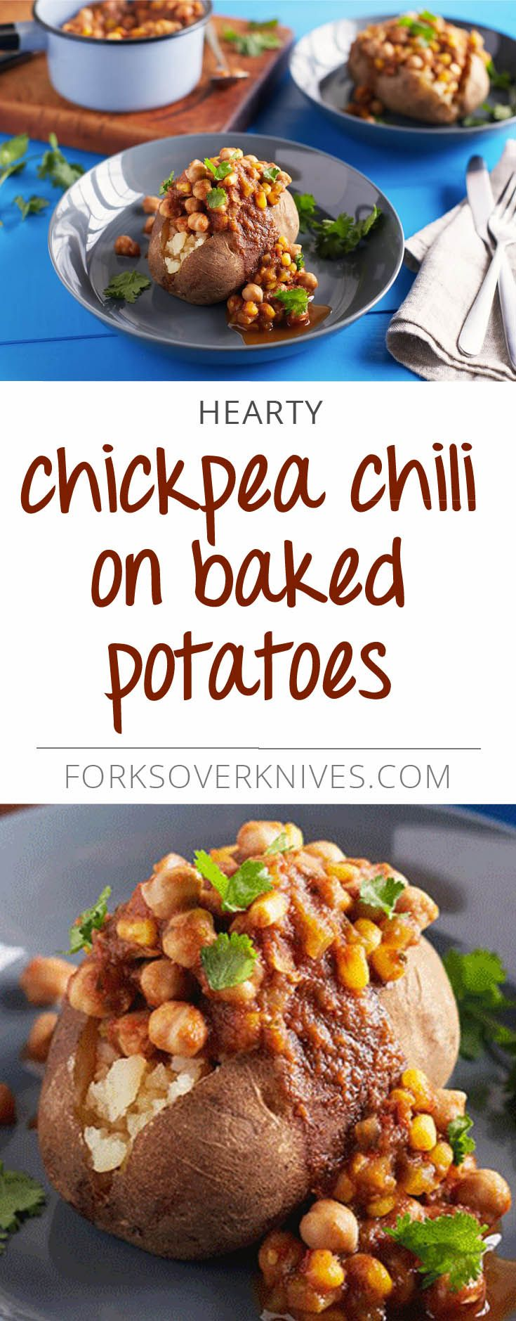 Chickpea Chili on Baked Potatoes - Plant-Based Vegan Recipe