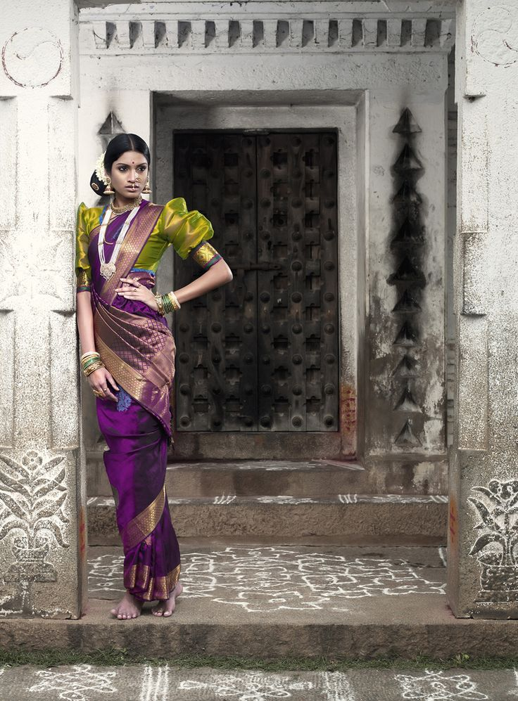 South Indian bride. Temple jewelry. Purple silk kanchipuram sari. Side bun with fresh flowers. Tamil bride. Telugu bride. Kannada bride. Hindu bride. Malayalee bride.