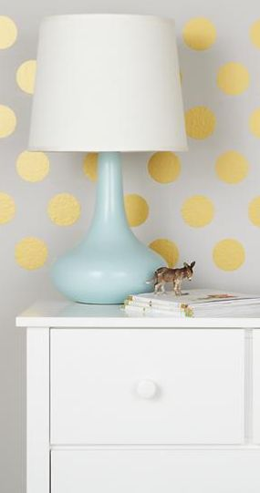"""3"""" gold dot decals - vinyl stickers to easily beautify your walls! http://rstyle.me/~1lxZn"""