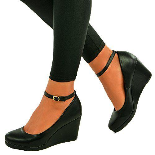 Cucu Fashion 2017 Brand Ladies Womens Wedge Pumps Ankle Strap High Heels Platform Party Shoes Size Uk $19.19
