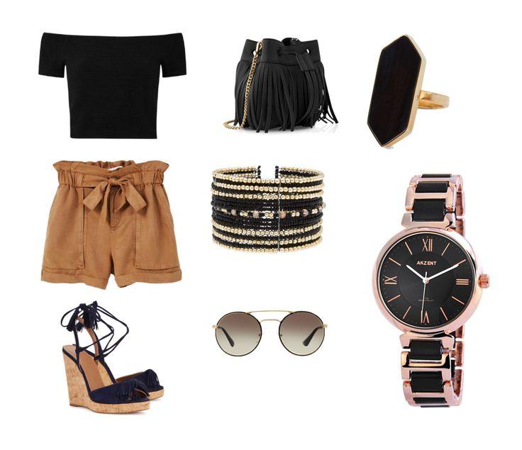 Ilyen szettel érdemes viselni a szalmatalpú szandálokat. A barna, a fekete és az arany mindig jó választás.